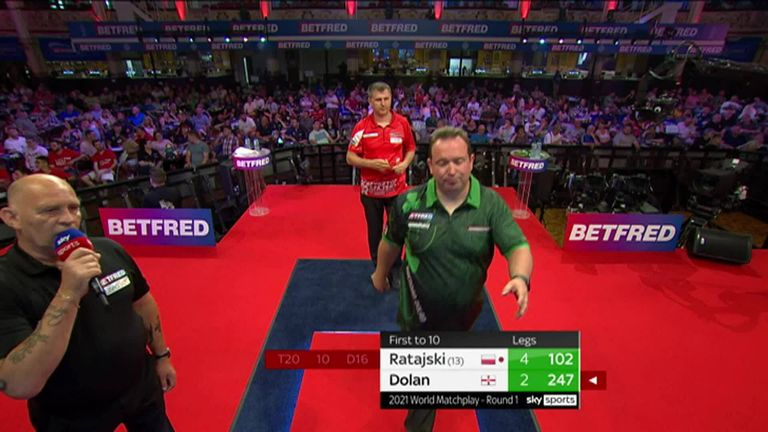 Krzysztof Ratajski took out 102 during his first-round match against Brendan Dolan at the World Matchplay