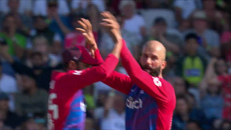 Moeen bowls Fakhar with a delicious turning ball to hit the top of off stump
