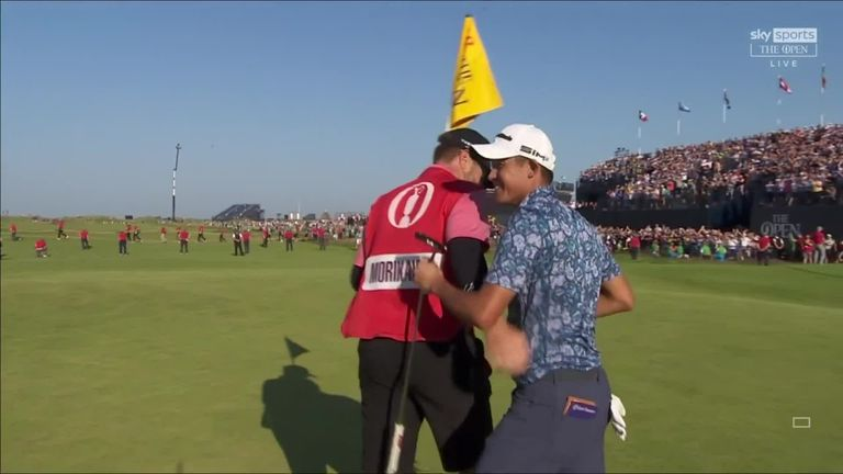 Watch the moment Collin Morikawa was able to complete his victory at The Open, tapping in on the final green to secure his second major title