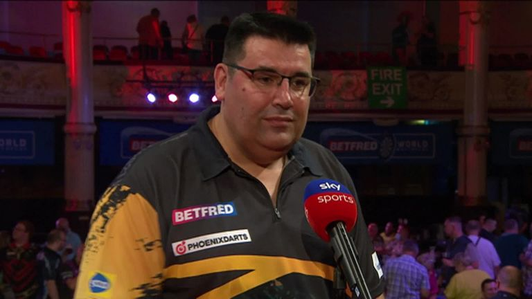 Jose de Sousa eased into the next round of the World Matchplay and said it was 'amazing' to win in front of fans.