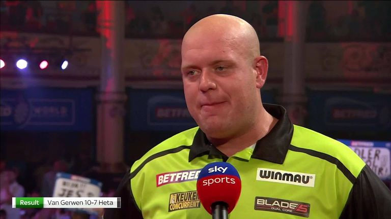 Michael van Gerwen said he has to adjust to playing in front of crowds again after a hard match against Damon Heta in the World Matchplay.