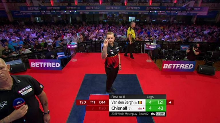 Van den Bergh struck with this 121 on the bull against Chizzy