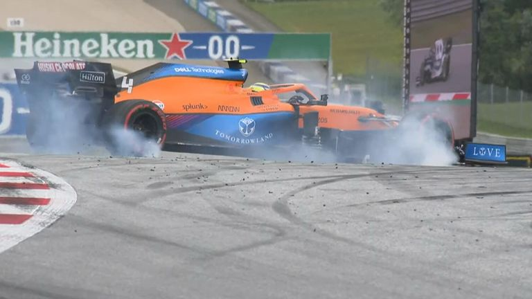 High-speed spin and quick response from Lando Norris at Turn One.