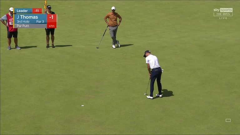 Justin Thomas missed a tap-in putt and carded a three-putt double-bogey during the third round of The 149th Open at Royal St George's