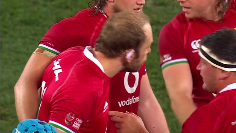 Alun Wyn Jones comes off the bench as he returns to action following his dislocated shoulder earlier in the tour