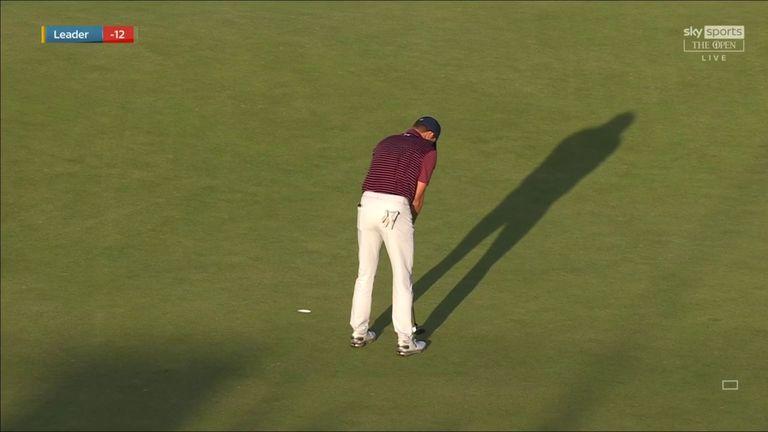 Jordan Spieth fell three strokes off lead at The Open after missing a two-foot putt to save par on the final hole of his third round