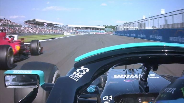 Lewis Hamilton moved into first place of the British Grand Prix at Copse with under two laps remaining after going past Charles Leclerc on the inside
