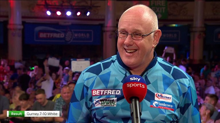 Ian White felt is was nice to get a break after Daryl Gurney missed a few doubles in their match at the World Matchplay.