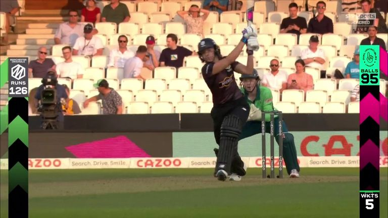 Manchester Originals' captain Kate Cross hits the first six of The Hundred - to the delight of the Oval crowd!