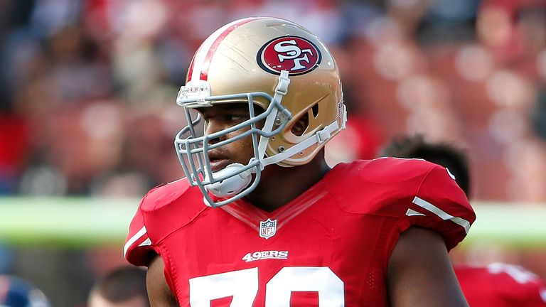Lawrence Okoye plays for the San Francisco 49ers in a pre-season age in 2013