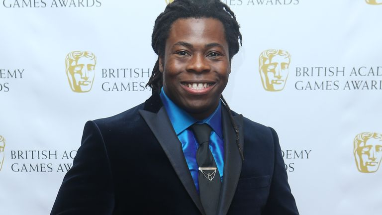 Ade Adepitan arrives for the 2013 British Academy Games Awards in London. Pic: Joel Ryan/Invision/AP