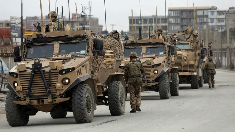 British soldiers with NATO-led Resolute Support Mission forces in Kabul in March