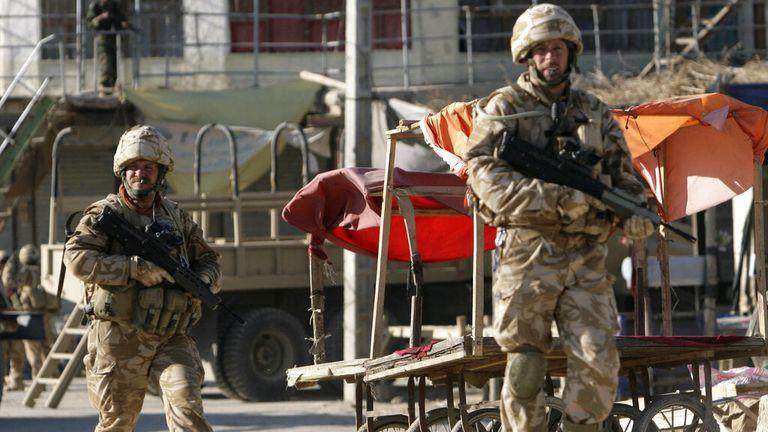 British soldiers patroling in Musa Qala, Afghanistan, in 2007