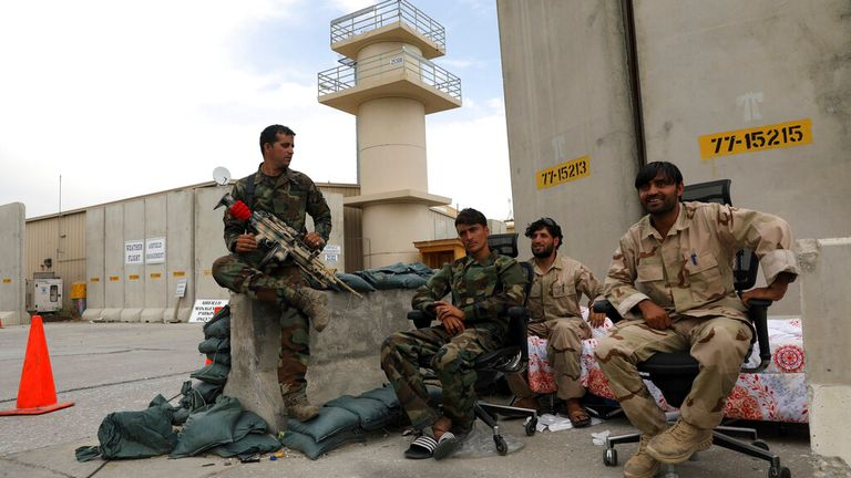 Afghan security forces keep watch after the American military left Bagram airbase