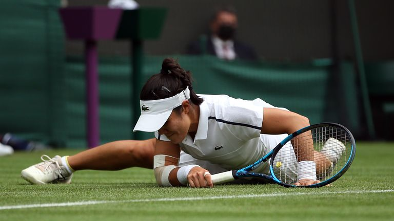 Kristie Ahn slips on court during her match against Heather Watson during their Ladies' Singles first round match on day one of Wimbledon at The All England Lawn Tennis and Croquet Club, Wimbledon. Picture date: Monday June 28, 2021.