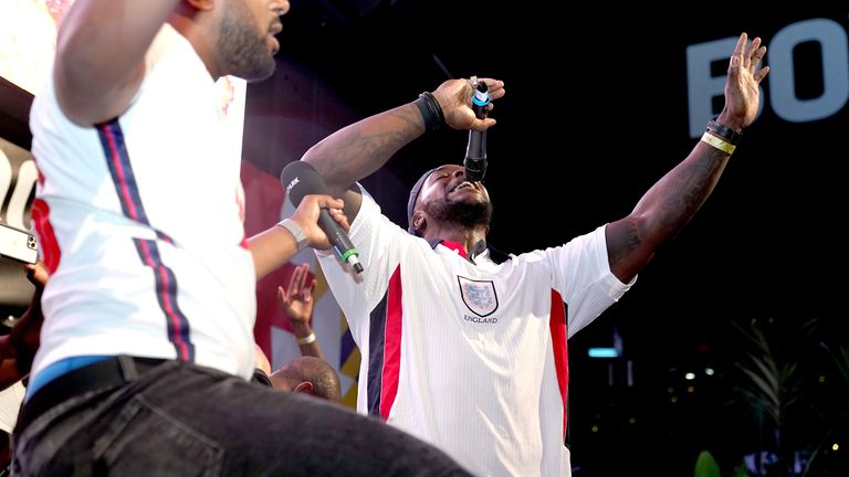 Wycombe Wanderers' Adebayo Akinfenwa on stage at BOXPARK in Croydon as he celebrates England reaching the final after the Euro 2020 semi final match between England and Denmark. Picture date: Wednesday July 7, 2021.