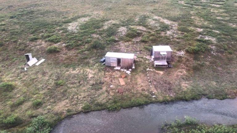 A remote mining camp near Nome, Alaska, where a Coast Guard Air Station Kodiak aircrew rescued the survivor of a bear attack, on July 16, 2021. Pic: US Coast Guard