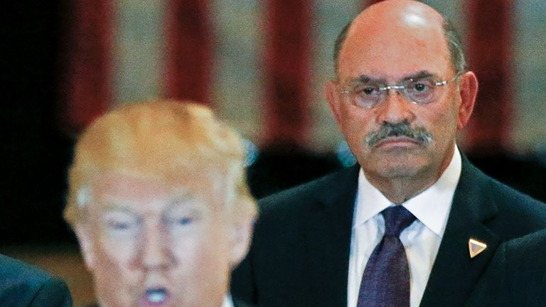 FILE PHOTO: Trump Organization chief financial officer Allen Weisselberg looks on as then-U.S. Republican presidential candidate Donald Trump speaks during a news conference at Trump Tower in Manhattan, New York, U.S., May 31, 2016. REUTERS/Carlo Allegri/File Photo