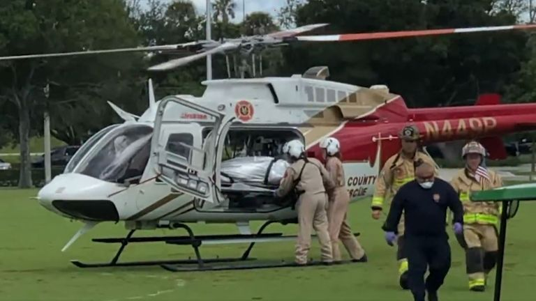 The man was taken to hospital in a helicopter. Pic: WPTV