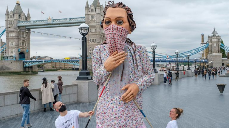 Amal is a puppet - a 9yo refugee girl. Pic: Bevan Roos