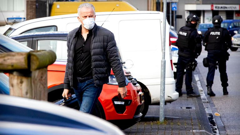 De Vries arriving at a the 'De Bunker' court in Amsterdam for the 'Marengo' murder trial in April Pic: AP