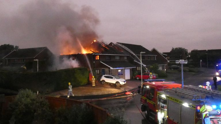 Firefighters were sent from seven surrounding areas to tackle the flames
