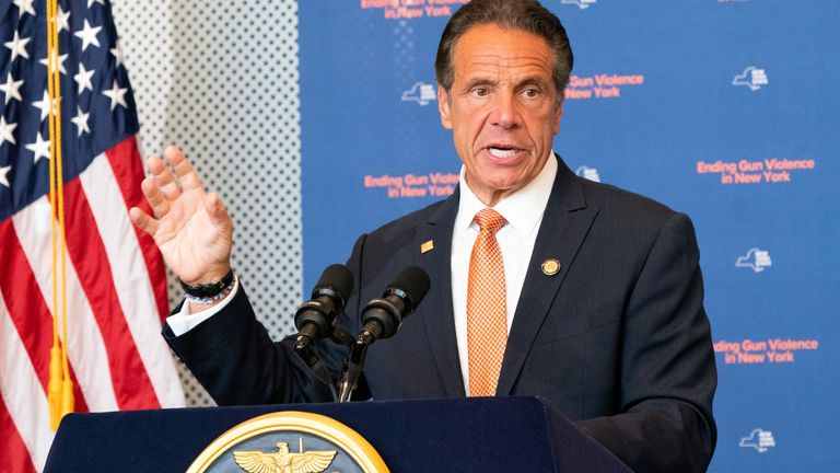New York Governor Andrew Cuomo speaks during a news conference, to make an announcement that Gun Manufacturers are Liable for the harm their products cause, in New York City, New York, U.S., July 6, 2021. REUTERS/Jeenah Moon