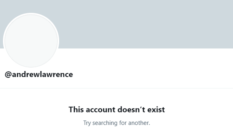 Andrew Lawrence's Twitter account appears to have been taken down. Pic: Twitter