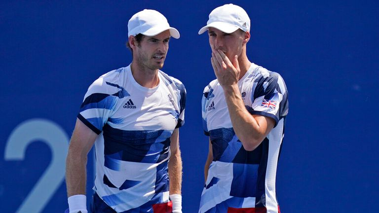 Andy Murray and partner Joe Salisbury before they were knocked out of the men's doubles. Pic: AP