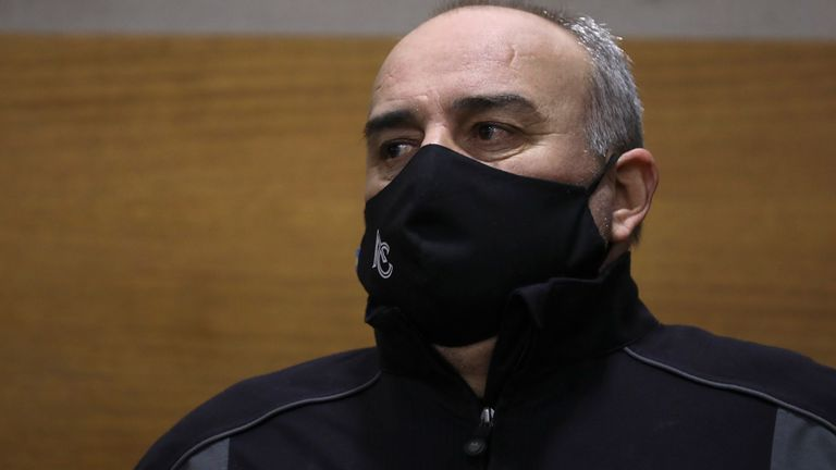 Argentine golfer Angel Cabrera, charged with assaulting three former partners, attends his trial in Cordoba, Argentina, Wednesday, July 7, 2021. Cabrera, who has won both the Masters and the U.S. Open, spent months on the run from the case involving assault claims filed by his former girlfriend Cecilia Torres Mana, his former wife Silva Rivadero and former partner Micaela Escudero. (AP Photo/Nicolas Aguilera)