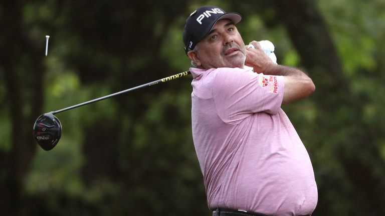 Angel Cabrera of Argentina hits off the second tee during first round play of the 2019 Master golf tournament at Augusta National Golf Club in Augusta, Georgia, U.S., April 11, 2019. REUTERS/Jonathan Ernst