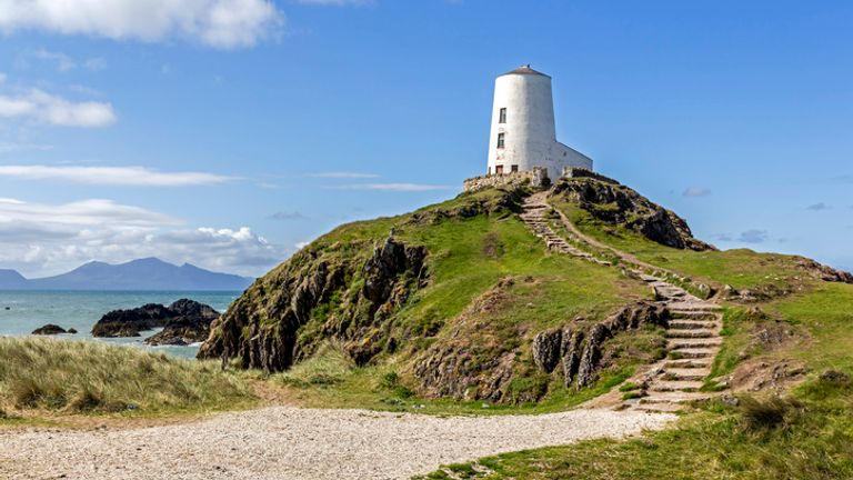 View of the lighthouse at Llanddwyn Island, Anglesey