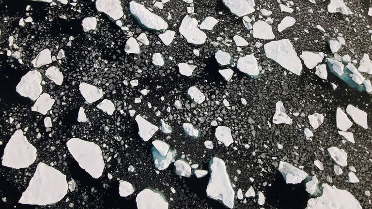 FILE PHOTO: An aerial view of floating ice in the Arctic Ocean FILE PHOTO: An aerial view of floating ice taken by a drone launched from Greenpeace's Arctic Sunrise ship in the Arctic Ocean, September 15, 2020. Picture taken September 15, 2020. REUTERS/Natalie Thomas/File Photo