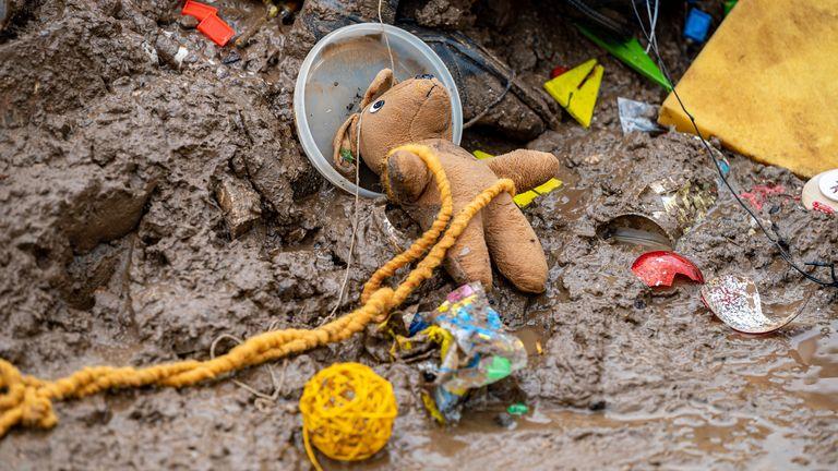 A toy in the mud following flooding near Arloff. Pic: Associated Press