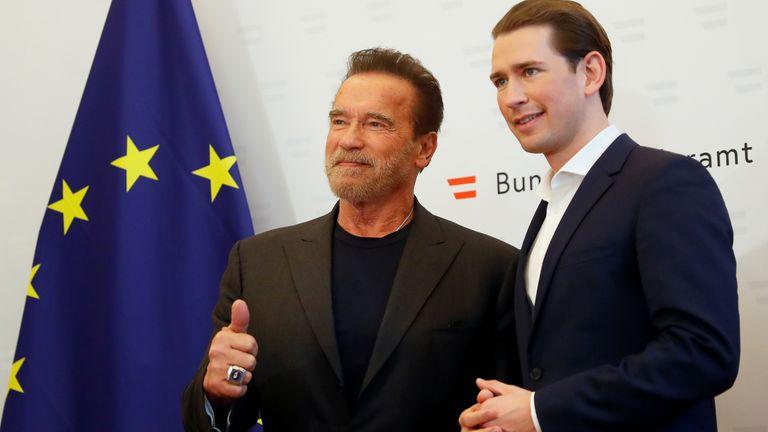 Arnold Schwarzenegger und der österreichische Bundeskanzler Sebastian Kurz