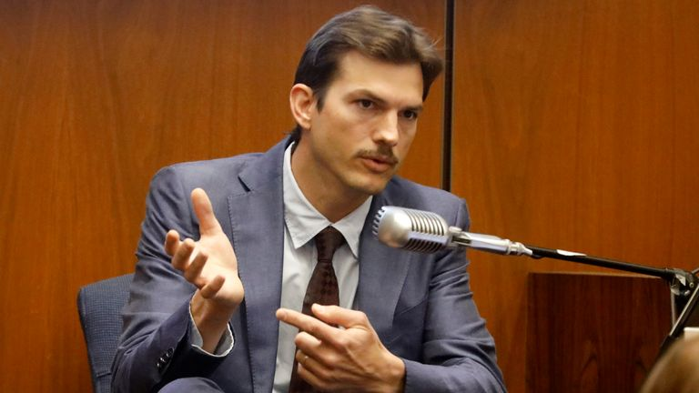 actor Ashton Kutcher testifies in the murder trial of Michael Gargiulo in Los Angeles Superior Court. File Pic: Associated Press