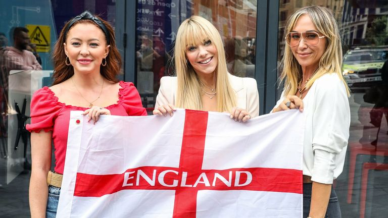 Atomic Kitten - Natasha Hamilton, Liz McClarnon and Jenny Frost - have released a reworked version of their 2000 hit Whole Again in celebration of Gareth Southgate and the England team. Pic: Brett Cove/SOPA Images/Shutterstock