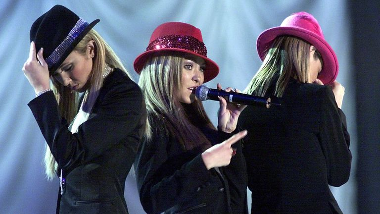 Atomic Kitten perform during the Showtime at the Stadium concert held at the Millennium Stadium in Cardiff on 20 October  2001