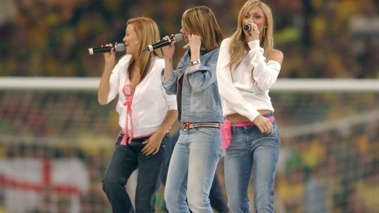 Atomic Kitten singing at the Nationwide Division 1 play-off Final, Birmingham City v Norwich City, at the Millennium Stadium, Cardiff in May 2002. Pic: Reuters/Action Images/Tony O'Brien