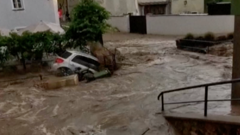 Torrential rains flood Austrian town