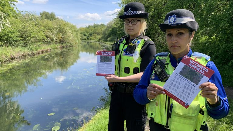 File photo dated 27/5/2021 of PC Charlotte Gardner and PCSO Suki Lally in rough Wood country park in Walsall, who have been among officers leafleting the local area to raise awareness about the incident where a dead newborn baby boy was found in the local canal. A £5,000 reward is being offered for information about the suspected murder of a newborn baby whose body was found in the West Midlands canal. Issue date: Thursday July 15, 2021.