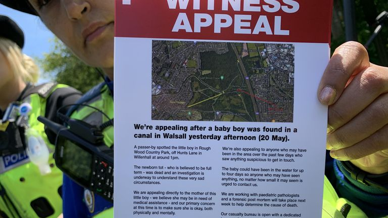 File photo dated 27/5/2021 of details of a leaflet explaining the incident that occurred in Rough Wood country park in Walsall, where a dead newborn baby boy was found in the local canal. A £5,000 reward is being offered for information about the suspected murder of a newborn baby whose body was found in the West Midlands canal. Issue date: Thursday July 15, 2021.