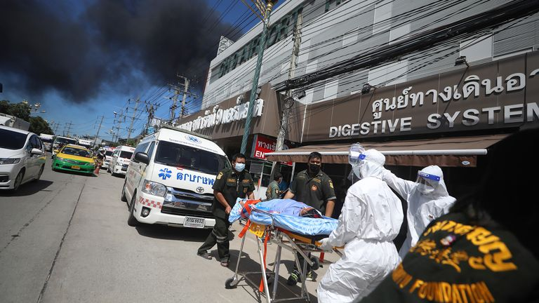 The hospital in the Samut Praken province was evacuated, along with surrounding houses. Pic AP