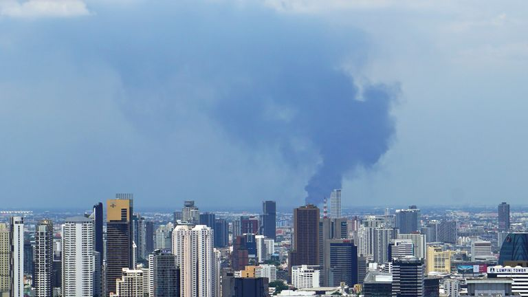 Giant plumes of smoke could be seen from downtown Bangkok after the explosion on Monday morning. Pic AP