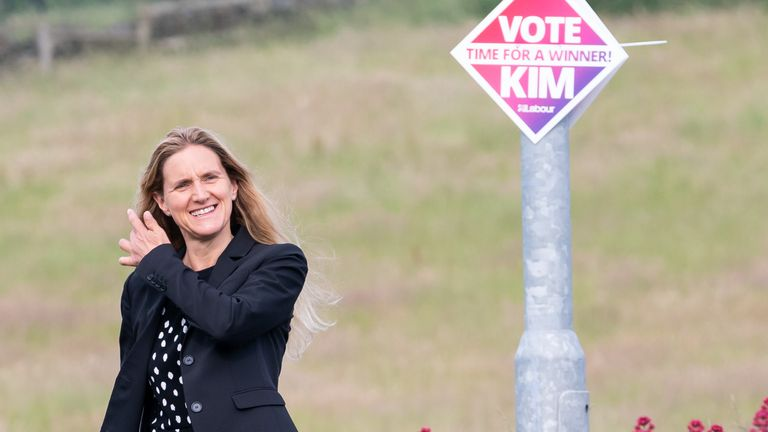 Labour party candidate Kim Leadbeater arrives to cast her vote in the by-election at the West Yorkshire constituency of Batley and Spen