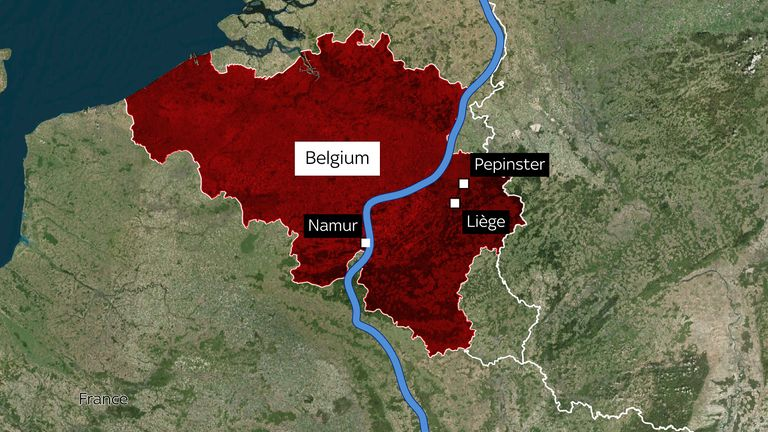 Liege and Pepinster have been badly affected by flooding