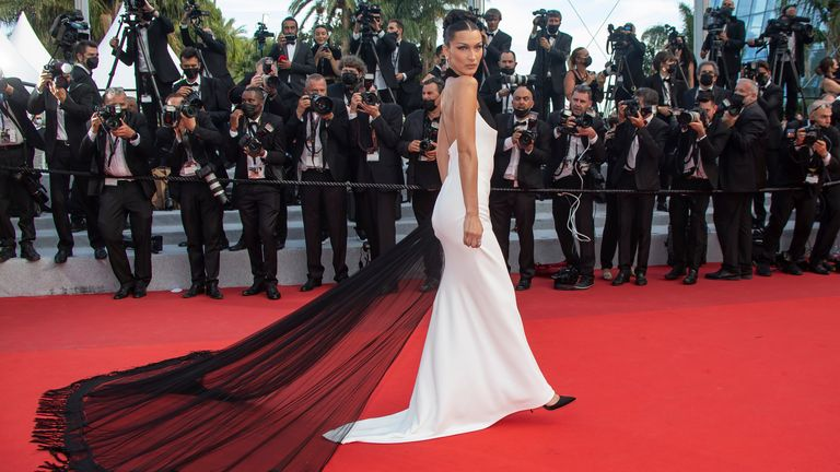 """Bella Hadid attends the """"Annette"""" screening and opening ceremony during the 74th annual Cannes Film Festival on July 06, 2021 in Cannes, France. Pic: AP/imageSpace/MediaPunch/MediaPunch/IPx"""