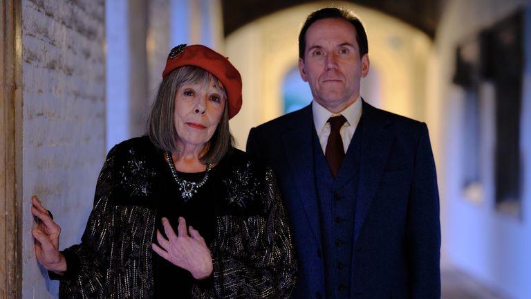 Frances De La Tour as Adelaide Tempest and Ben Miller as Professor T (Jasper Tempest) in Professor t. Pic: ITV/ Eagle Eye Drama