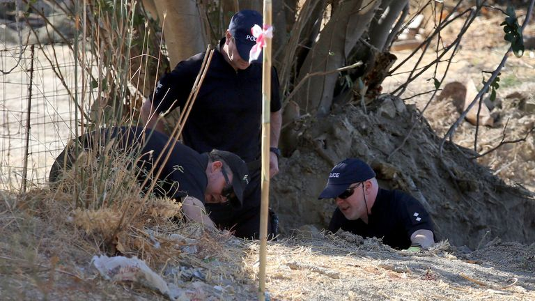 Detective Inspector Jon Cousins (right) of South Yorkshire Police in Kos, Greece, as officers from the force continue excavations in relation to the missing toddler Ben Needham (file image)