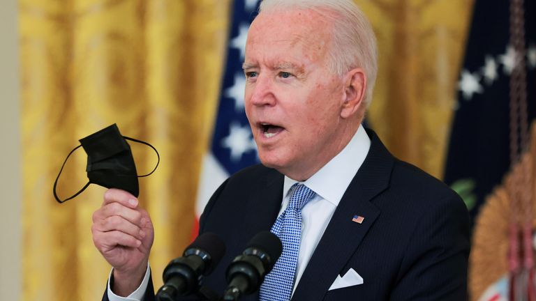 U.S. President Joe Biden speaks about the pace of coronavirus disease (COVID-19) vaccinations in the United States during remarks in the East Room of the White House in Washington, U.S., July 29, 2021